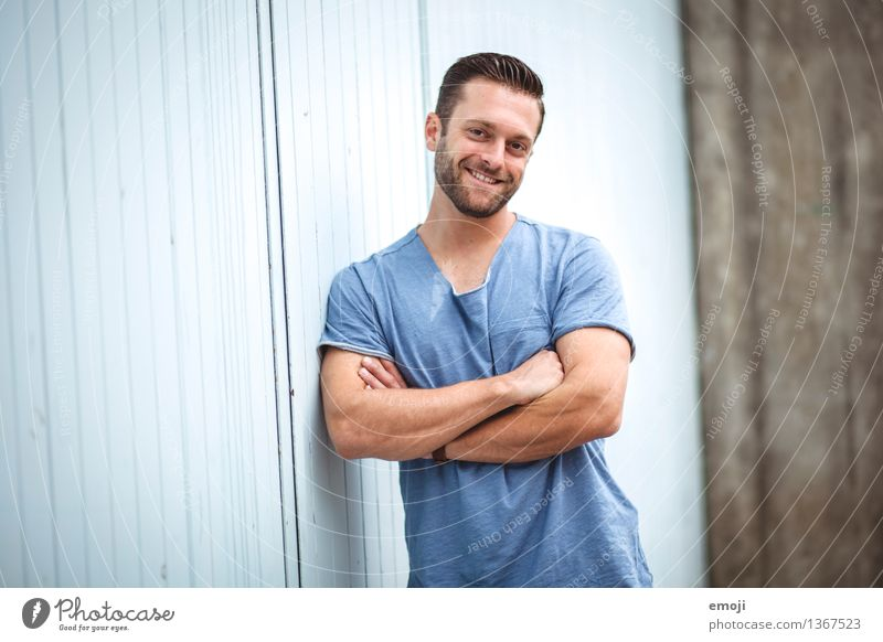 Human being Youth (Young adults) Blue Beautiful Young man 18 - 30 years Adults Happy Masculine Happiness Smiling Friendliness Athletic Facial hair Brunette