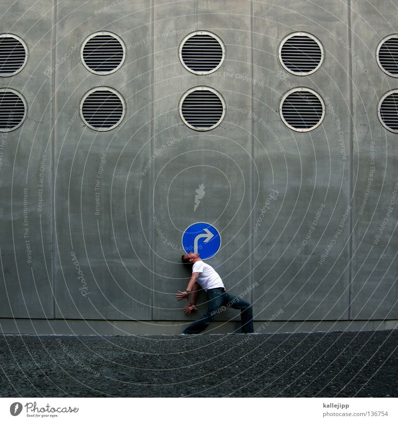 Human being Man Blue Vacation & Travel City Street Wall (building) To talk Movement Gray Signs and labeling Concrete Transport Circle Lifestyle Search