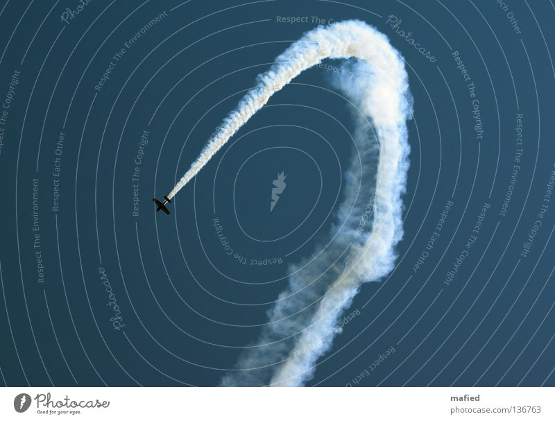 Restricted airspace Airplane Vapor trail Aerobatics Air show Aerial maneuver Speed Acrobatics Engines Wing White Kick Titillation Sky Flying Blue Freedom Thrill