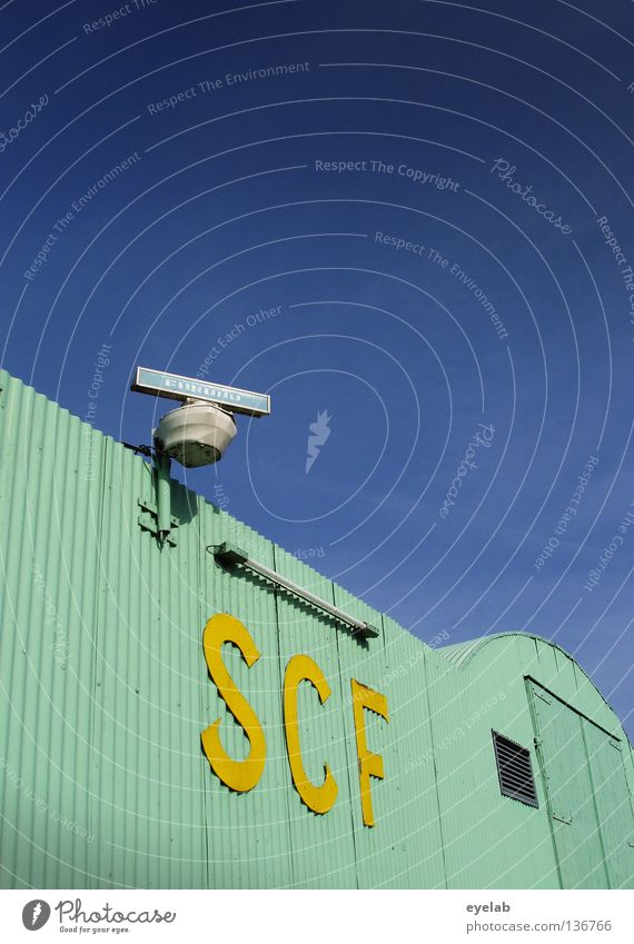 SCF is watching you! V.1.2 Turquoise Corrugated sheet iron Radar station Yellow Lamp Neon light Neon lamp Clouds Safety Typography Electricity