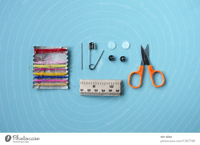 What do you do when your pants rip? Work and employment Craft (trade) Sewing thread Needle Buttons Safety pin Tape measure Scissors Blue Leisure and hobbies