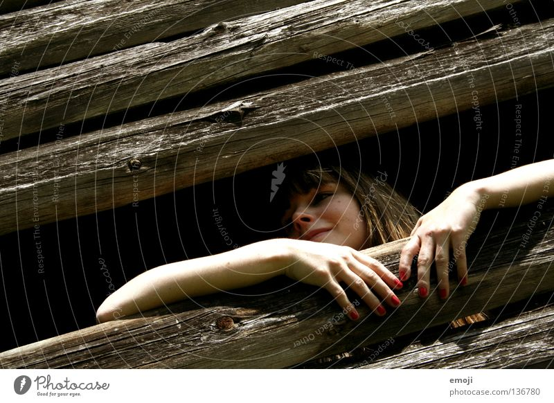 Woman Youth (Young adults) Old Red Joy Loneliness Wood Laughter Style Bright Happiness Vantage point Derelict Hut Illuminate Shabby