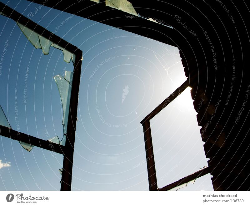 hope Window Window frame Square Rectangle Corner Sharp-edged Glass fragment Broken Shatter Forget Dangerous Cut Breakage Refraction Sunbeam Light Clouds