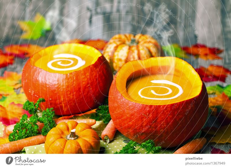 Hot pumpkin soup Food Vegetable Lettuce Salad Soup Stew Herbs and spices Nutrition Lunch Buffet Brunch Banquet Organic produce Vegetarian diet Diet Bowl Healthy