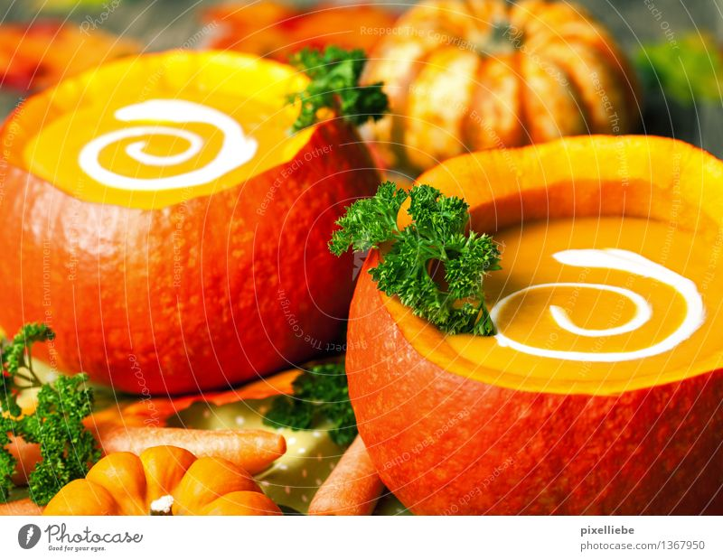 Pumpkin soup Food Vegetable Soup Stew Herbs and spices Nutrition Eating Lunch Buffet Brunch Vegetarian diet Diet Bowl Healthy Healthy Eating Table Kitchen
