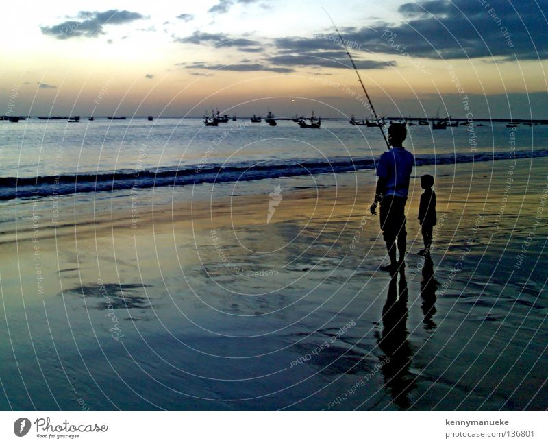 fishing Bali Sunset Leisure and hobbies siluet indonesia Jimbaran bay father son clouds dawn