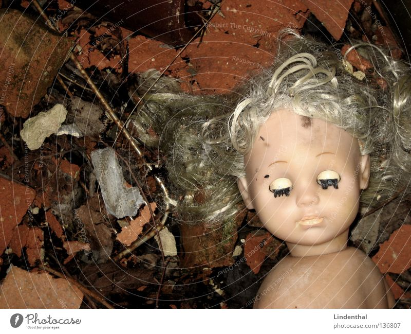 USED Second-hand Broken Dirty Closed Blonde Loneliness Grief Barbie Girl Toys Distress Doll bottom Eyes used Beetle Mouth Nose roof tiles raped offloaded Death