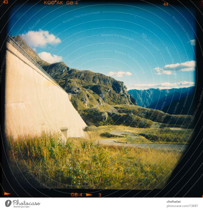 Robiei Dam Retaining wall Mountain Canton Tessin Green Medium format Holga Kitsch Blue