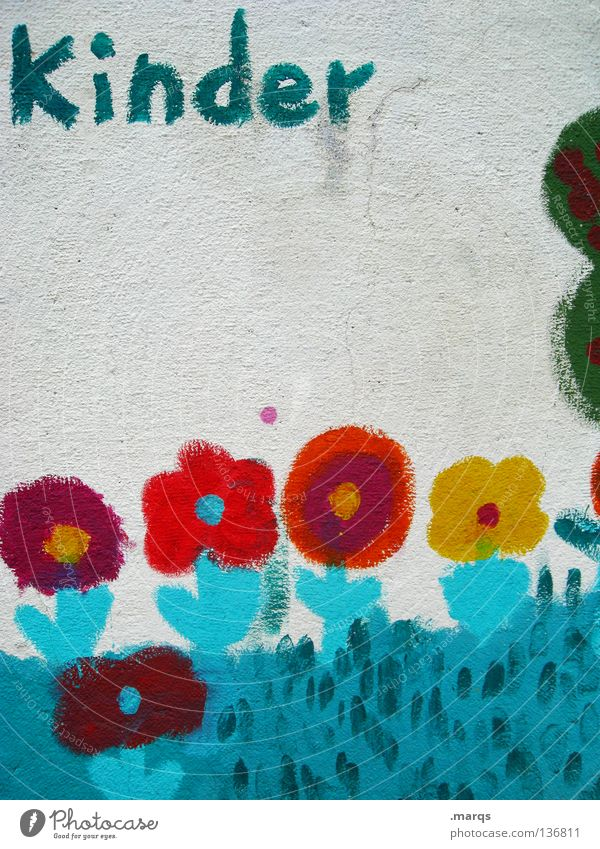 Child Blue White Red Flower Yellow Wall (building) Graffiti Garden Infancy Characters Letters (alphabet) Painting (action, work) Turquoise Kindergarten
