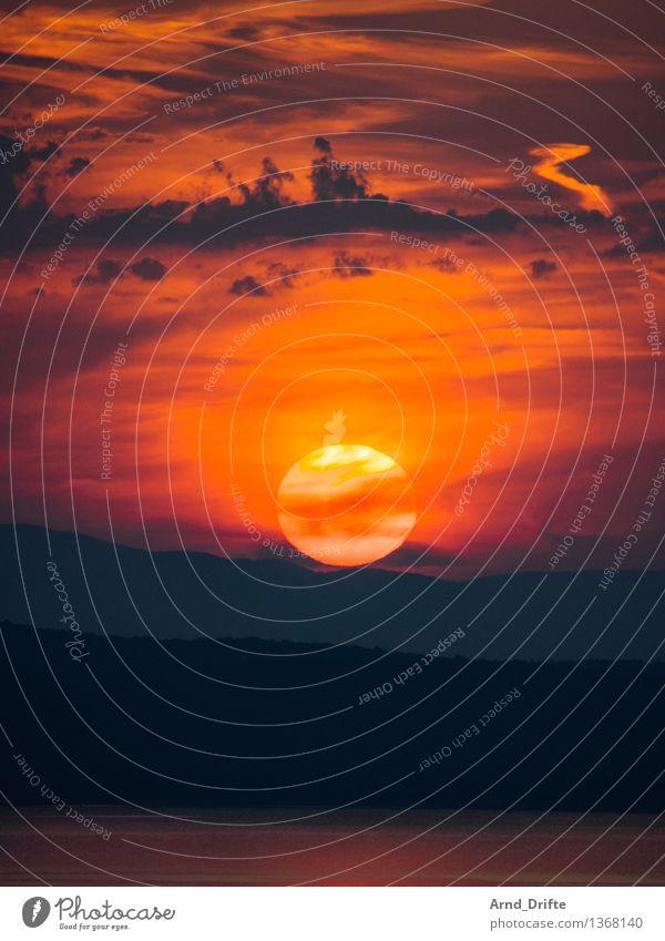 blazing sun Nature Landscape Sky Clouds Sun Sunrise Sunset Sunlight Summer Beautiful weather Hill Rock Coast Ocean Island Yellow Gold Orange Red Romance Calm