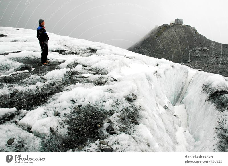 over the glacier Clouds Peak Go up Dramatic Black White Switzerland Bernese Oberland Hiking Back-light Mountaineering Dangerous Leisure and hobbies Endurance
