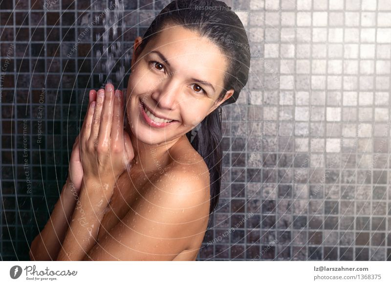 Attractive woman washing her hair in the shower Lifestyle Body Skin Face Wellness Relaxation Spa Bathroom Woman Adults 1 Human being 30 - 45 years Brunette Hair