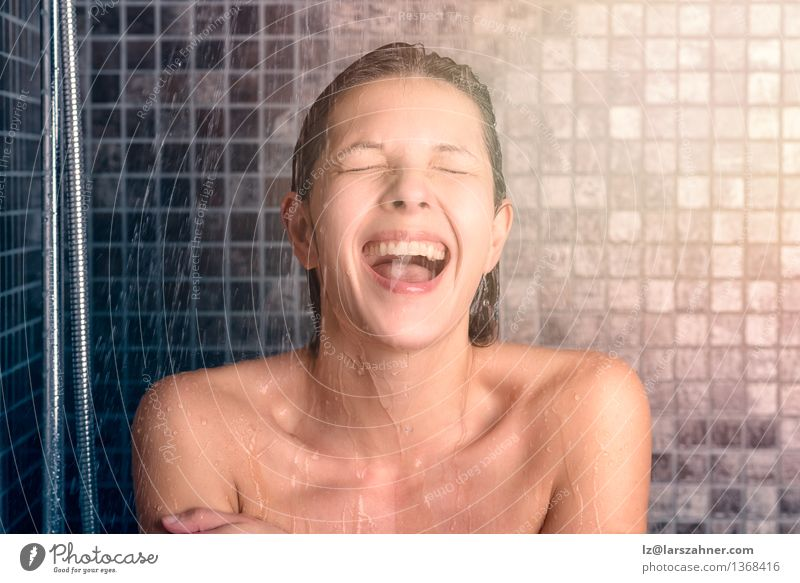Happy Bare Young Woman Taking Shower Human being Naked Relaxation Face Adults Natural Laughter Lifestyle Open Mouth Wet Clean Bathroom Brunette