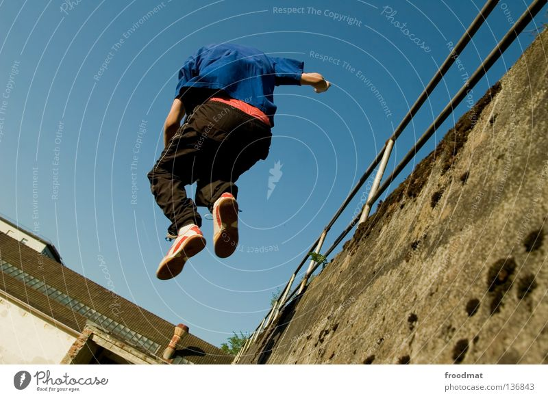 Youth (Young adults) Sky Blue Joy Sports Relaxation Jump Playing Movement Contentment Funny Airplane Elegant Free Crazy