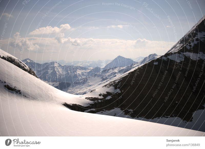 Winter Clouds Snow Mountain Freedom Rock Tall Vantage point Peak Austria Wanderlust Glacier Blue sky Slope Vista Mountain range