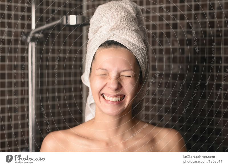 Playful mischievous woman with wet hair in a towel Body Skin Face Medical treatment Spa Bathroom Woman Adults 1 Human being 30 - 45 years Nature Hair Smiling
