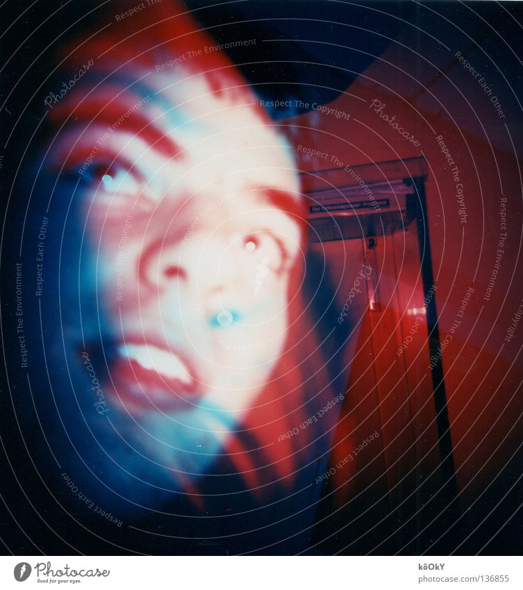Forgotten to fast forward Colour photo Multicoloured Experimental Lomography Holga Portrait photograph Profile Human being Youth (Young adults) 1 18 - 30 years