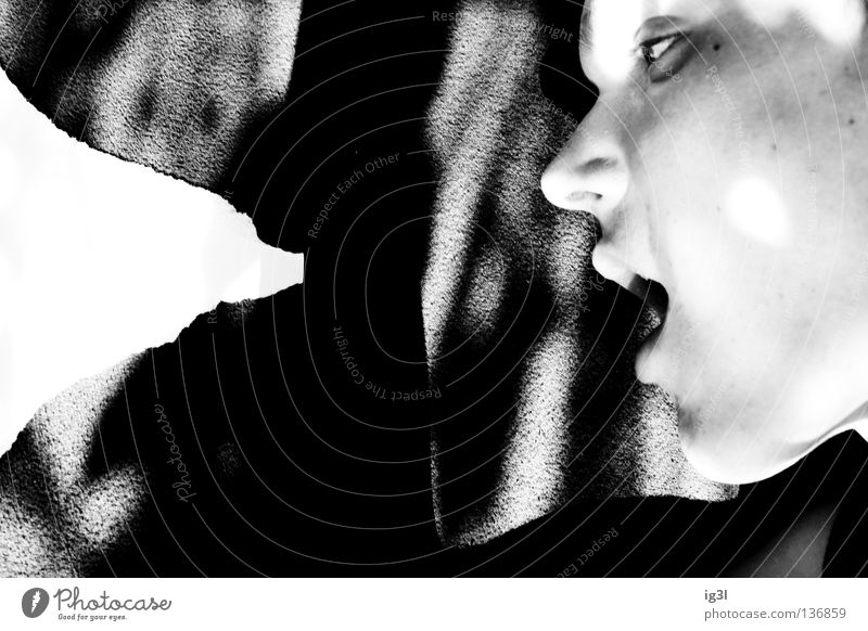Eat or die! Black & white photo Face Partially visible Detail of face Strange Mouth Open Profile Appetite