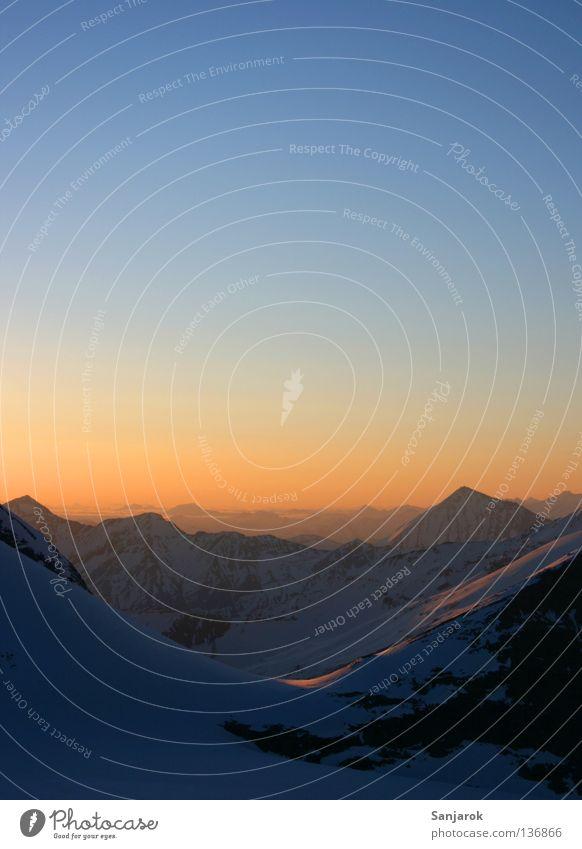 Sky Blue Far-off places Mountain Freedom Moody Gold Hope Vantage point Peace Alps Peak Austria Wanderlust Dusk Progress