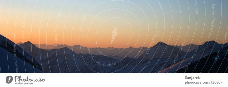 Blue Far-off places Mountain Freedom Moody Gold Hope Vantage point Peace Alps Peak Morning Sunrise Austria Wanderlust Dusk