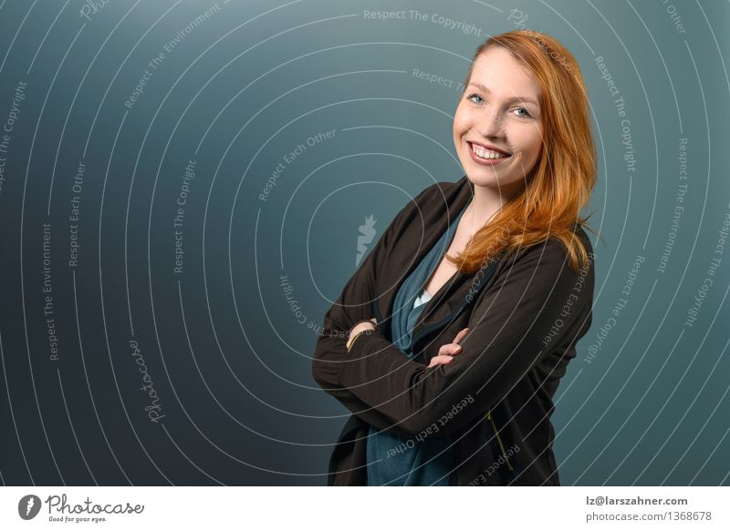 Smiling Red Haired Woman with Arms Crossed Happy Face Calm Decoration Success Blackboard Adults 1 Human being 18 - 30 years Youth (Young adults) Red-haired
