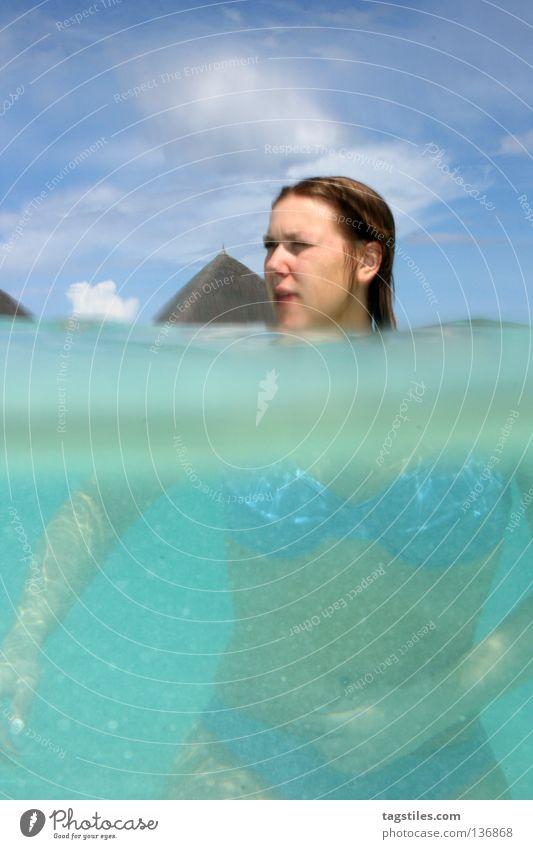 TRANSFORMER Split Refraction Woman Maldives Vacation & Travel Summer Dive Snorkeling Bikini Under Beach India Ocean Surface of water Asia size matters