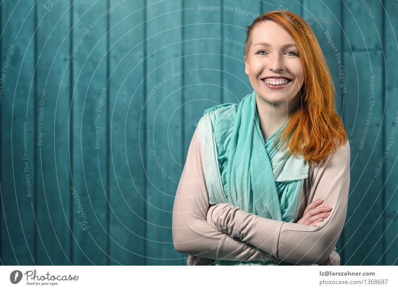 Smiling happy pretty red head woman Happy Hair and hairstyles Face Calm Decoration Success Blackboard Woman Adults Arm 1 Human being 18 - 30 years