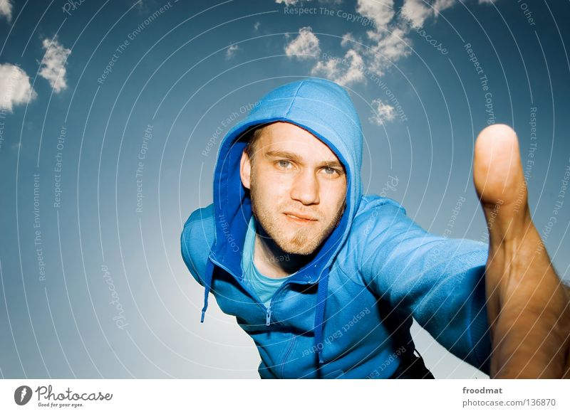 Sky Man Youth (Young adults) Blue Hand Beautiful Clouds Face Eyes Style Bright Friendship Arm Mouth Masculine Nose