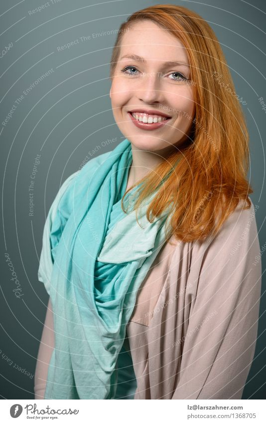 Smiling red haired Woman Looking at Camera Happy Face Calm Decoration Success Blackboard Adults Arm 1 Human being 18 - 30 years Youth (Young adults) Scarf