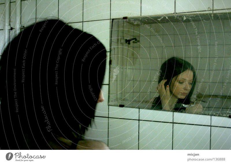Woman Beautiful Old Black Dream Dirty Grief Bathroom Mirror Creepy Distress Ruin Shabby Soul Apply make-up