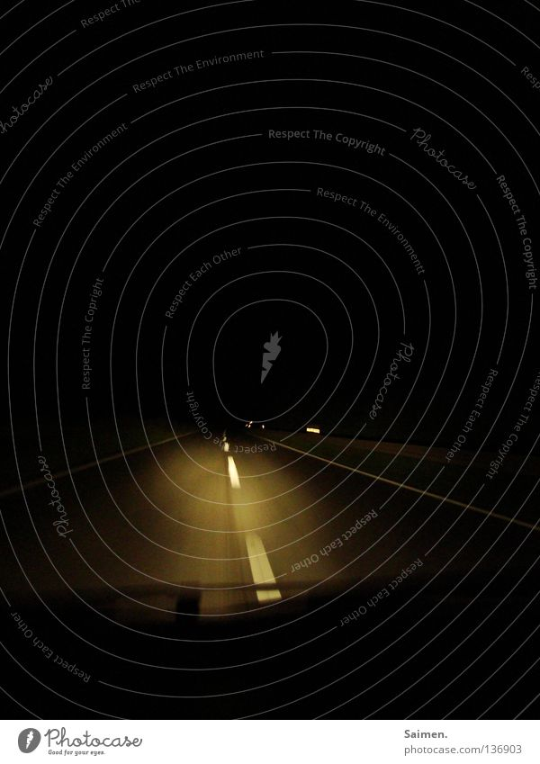 Calm Loneliness Street Dark Think Transport Dangerous Concentrate Fatigue Motoring Traffic lane Lane markings Tunnel vision Windscreen wiper