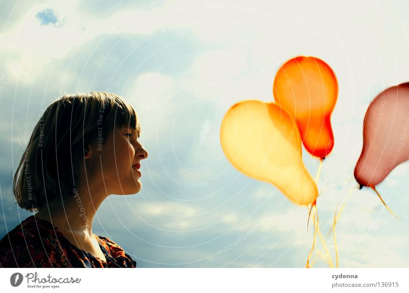 Human being Woman Sky Summer Red Flower Clouds Joy Emotions Playing Laughter Style Freedom Moody Background picture Party