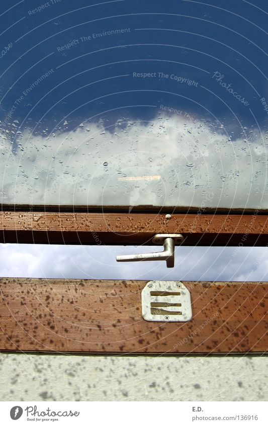 Sky Blue White Clouds Window Rain Weather Hope Window pane Door handle