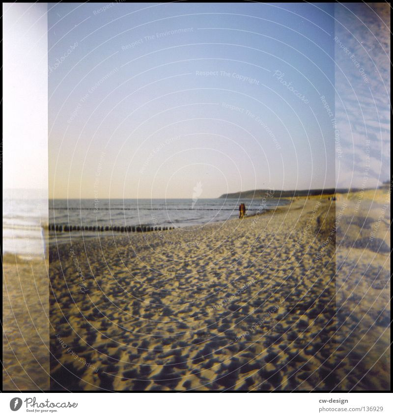 hOlGa | to catch some sun Holga Multicoloured Dike Coast Grass Common Reed Hiddensee Summer Waves Beach Black Edge White crest Jetty Mole Air Horizon Sunbathing