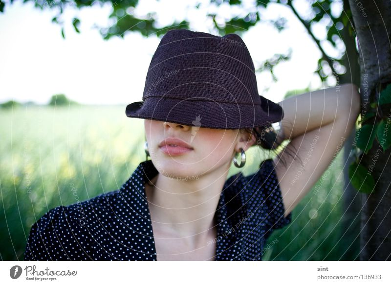 Woman Human being Nature Youth (Young adults) Beautiful Summer Calm Style Arm Elegant Beauty Photography Posture Model Lips Mysterious Hat