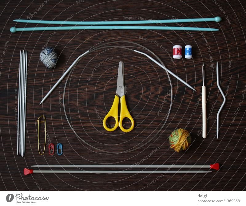 Blue White Yellow Wood Gray Brown Lie Leisure and hobbies Arrangement Uniqueness Thin Long Wool Scissors Handcrafts Knit