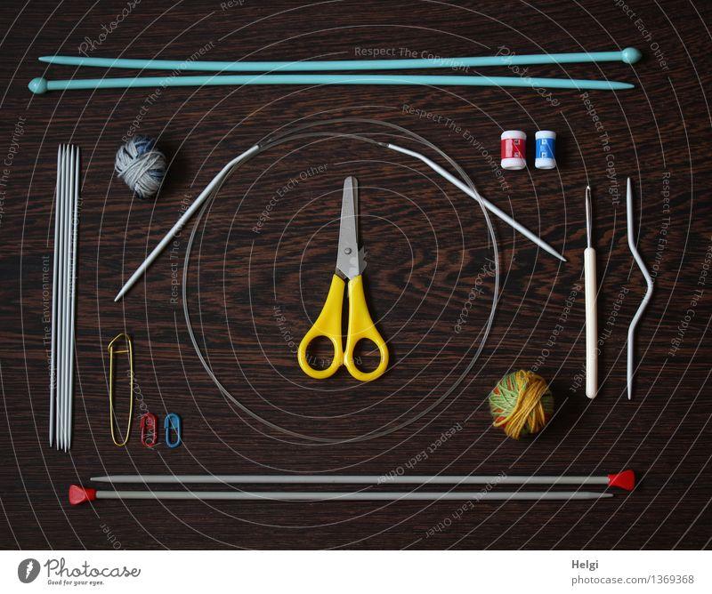 Super StillLeben | Needlework Leisure and hobbies Handcrafts Knit Scissors Knitting needle crochet hook Wool Safety pin Ball of wool Wood Lie Thin Uniqueness