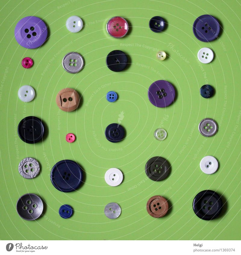 Super Still Life Knobs Collection Buttons Lie Exceptional Uniqueness Small Round Brown Gray Green Violet Red Black White Orderliness Arrangement Colour photo