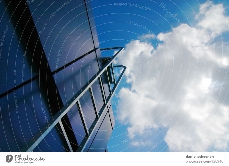 Sky White Sun Blue Summer Clouds Metal Weather Perspective Stairs Roof Sporting event Ladder Career