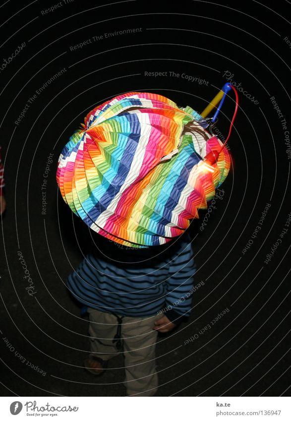 Child Beautiful Joy Black Lamp Dark Playing Walking Lantern Wrinkles Sing Carrying Striped Uphold Lampion