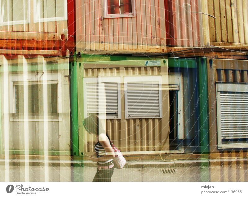 Woman Green Red Vacation & Travel Yellow Colour Style Window Line Going Walking Harbour Living or residing Stripe Obscure Japan