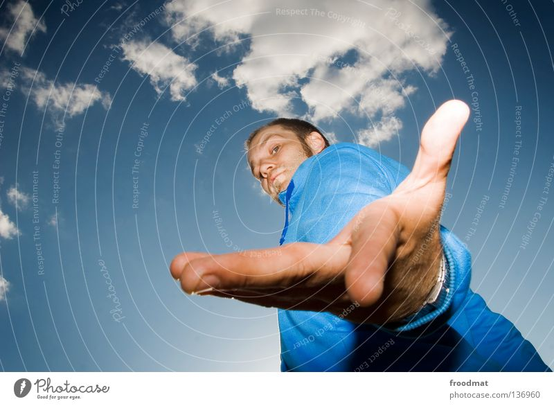 Sky Man Youth (Young adults) Blue Hand Beautiful Clouds Colour Face Style Bright Arm Mouth Masculine Nose Fingers