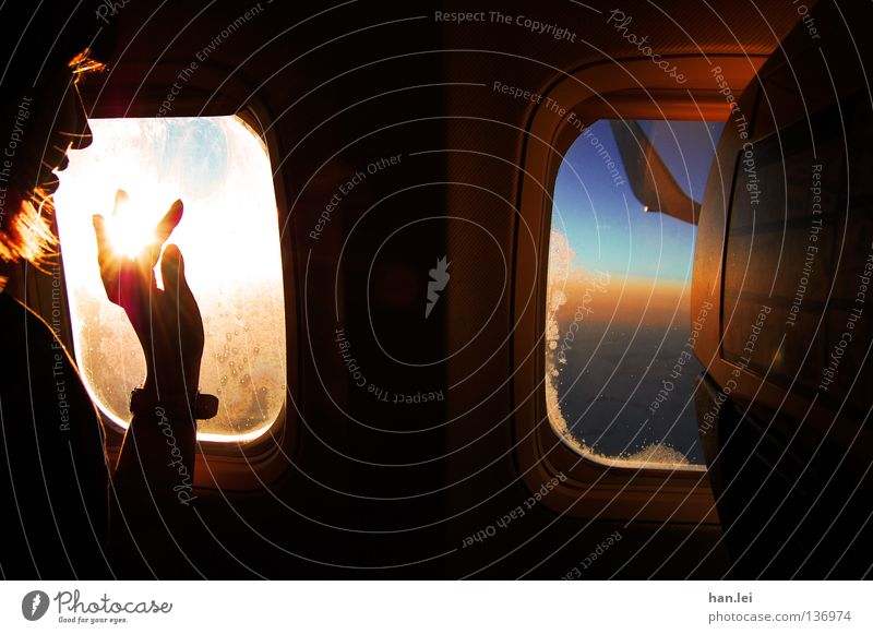 No. 50 - Touch the Sky Joy Beautiful Relaxation Calm Vacation & Travel Sun Aviation Woman Adults Youth (Young adults) Hand Fingers Earth Window Airplane Wing