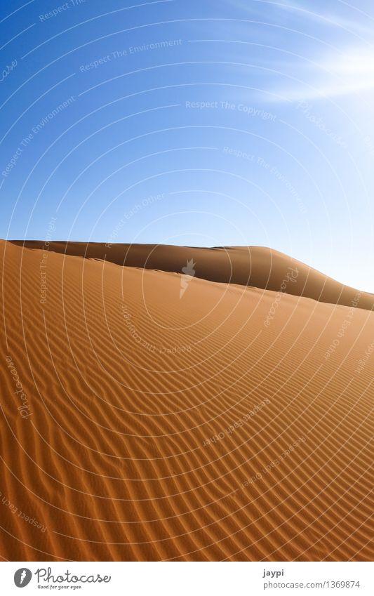 swell Environment Nature Landscape Sand Sky Cloudless sky Sunlight Drought Desert Namib desert Dune Simple Gigantic Large Infinity Dry Blue Orange Moody