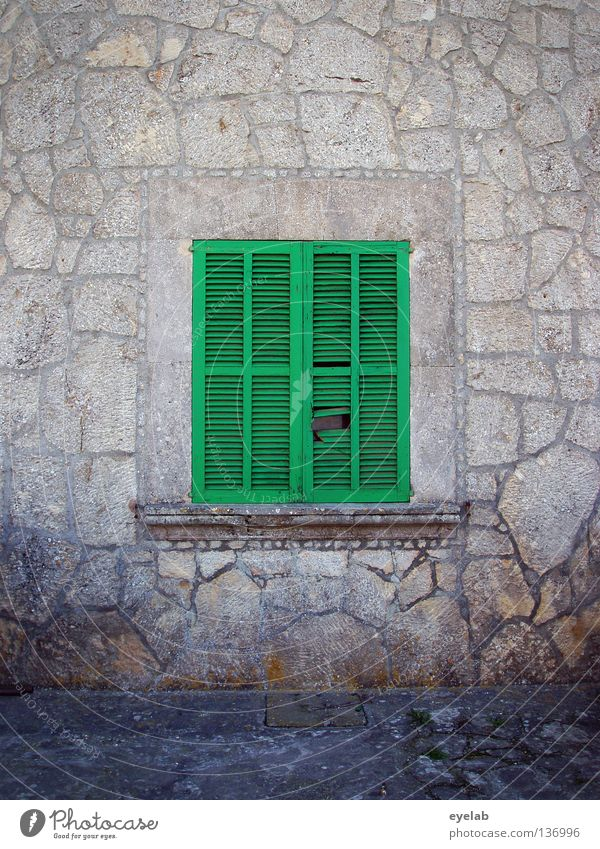 siesta Wall (barrier) Pattern Window board Green Gray Closed Dark Aperture Midday Safety House (Residential Structure) Building Spain Majorca Vacation home