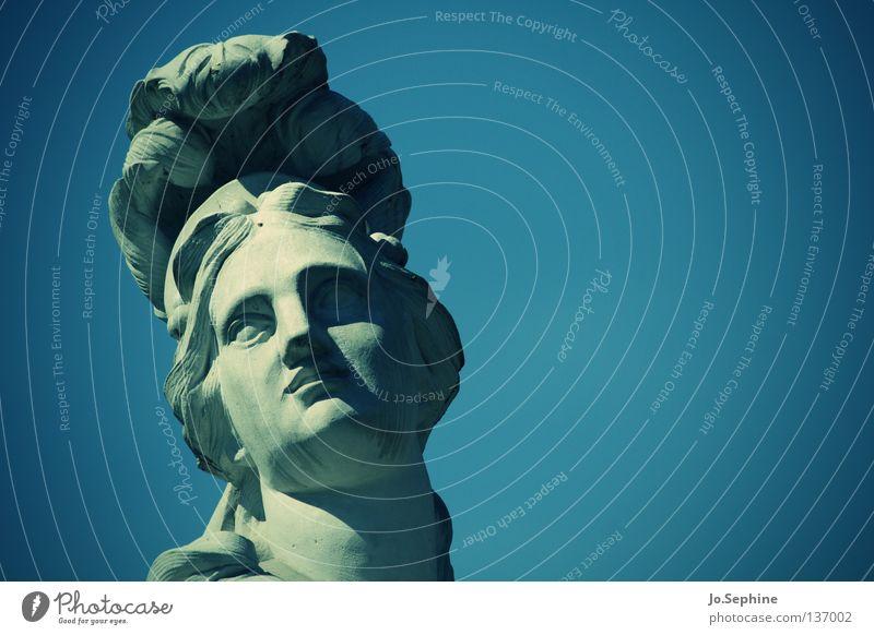 Medusa's watching you. Elegant Woman Adults Head Sculpture Sky Landmark Monument Stone Arrogant Statue Stone statue Medusa head Mythology Solidify Blue sky