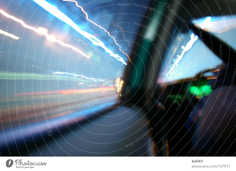 warp Colour photo Experimental Light Light (Natural Phenomenon) Long exposure Tunnel Car Infinity Bright Speed Blue Green White Euphoria Life Surrealism