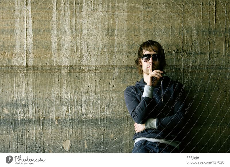 Man Youth (Young adults) Old Calm Wall (building) Wall (barrier) Dirty Concrete Cool (slang) Eyeglasses Stripe Derelict Guy Sunglasses Self portrait