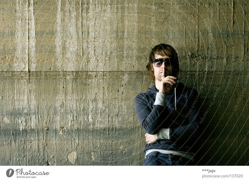 shh. Self portrait Man Sunglasses Pornography Eyeglasses Calm Wall (building) Old Concrete Lean Dirty Tumbledown Massive Stripe Loud Crash Annoy Volume
