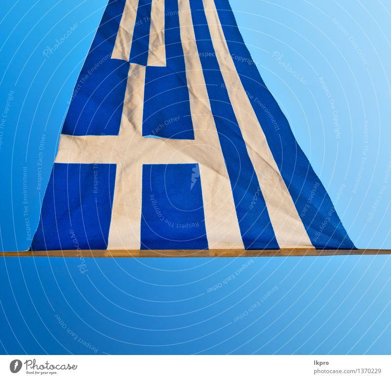 greece flag in the blue sky and flagpole Design Summer Sun Culture Sky Wind Building Flag Friendliness Bright Blue White Colour Tradition background backgrounds